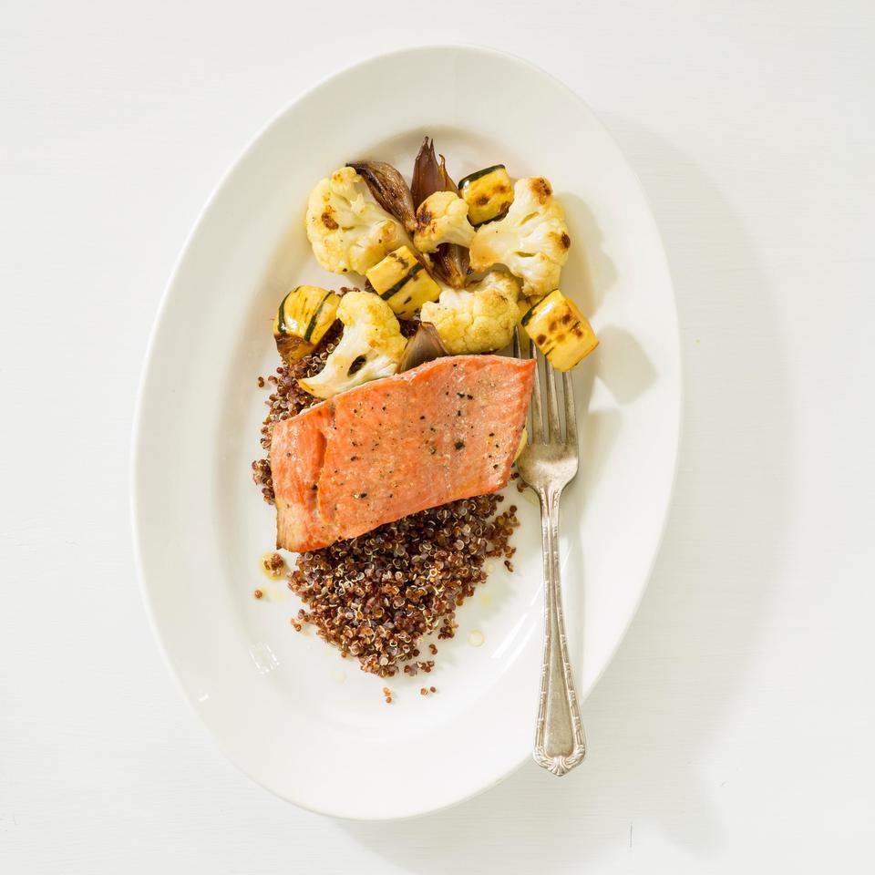 Salmon with Roasted Vegetables & Quinoa EatingWell Test Kitchen