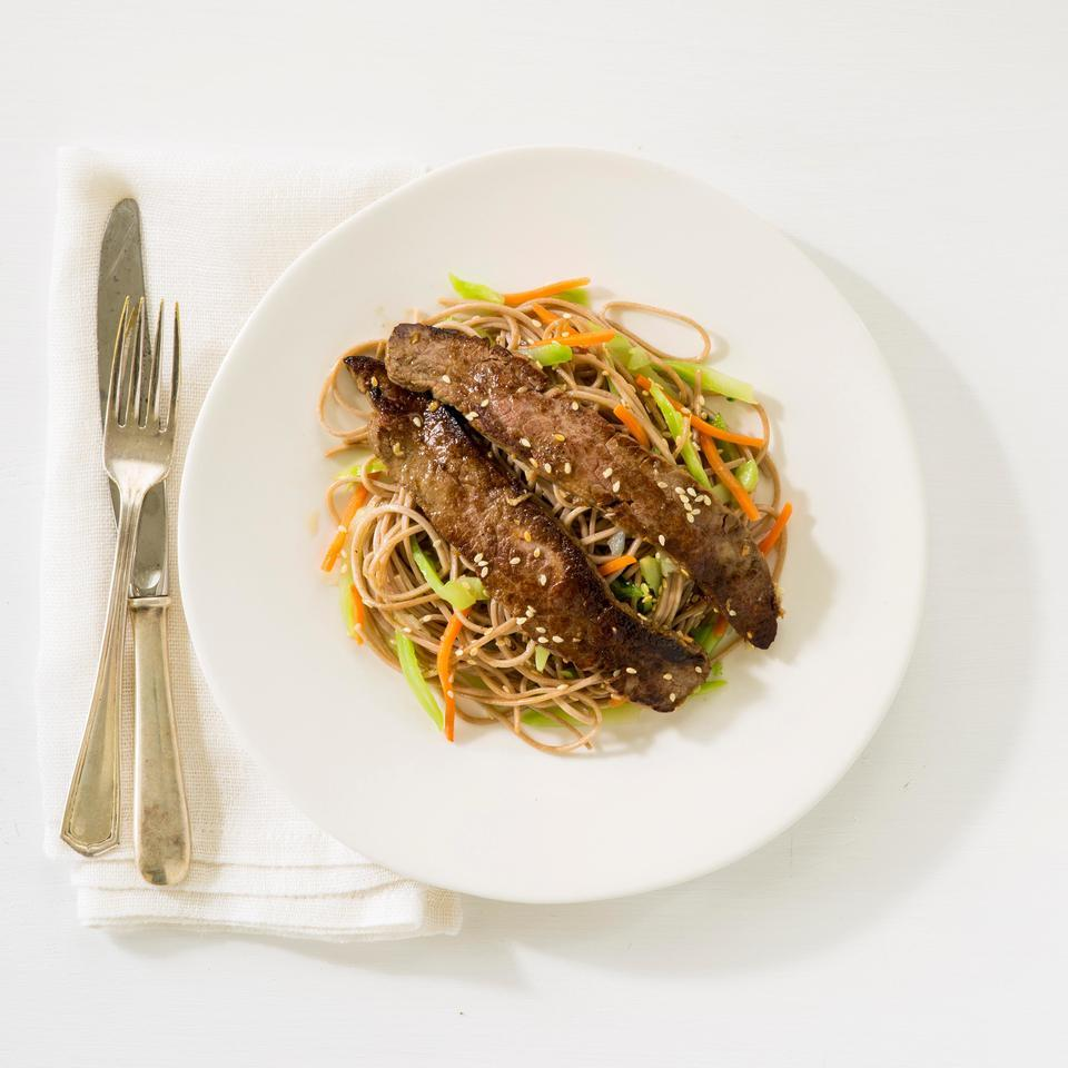 Flank steak takes on savory Asian flavors with this quick steak marinade recipe. We like buckwheat soba noodles for their nutty flavor but any noodle, such as rice noodles or spaghetti, works well too. Source: EatingWell Magazine, January/February 2015