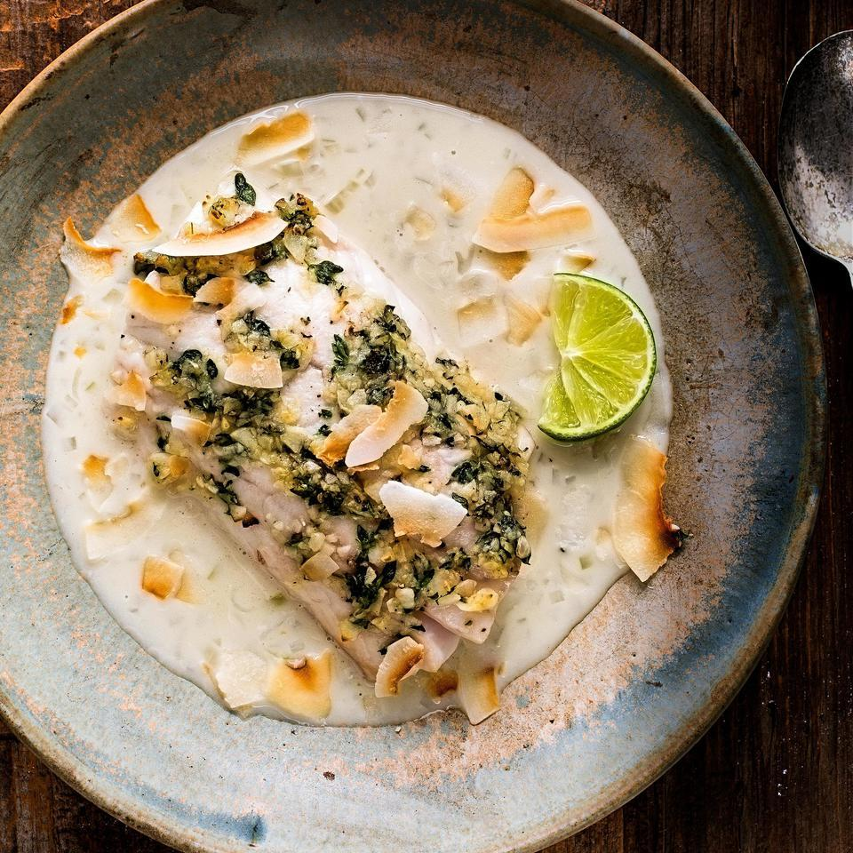 This easy fish recipe with a flavorful garlic, thyme and coconut sauce is perfect for a healthy weeknight dinner. Serve with brown rice, to soak up the creamy sauce, and a green salad with vinaigrette.