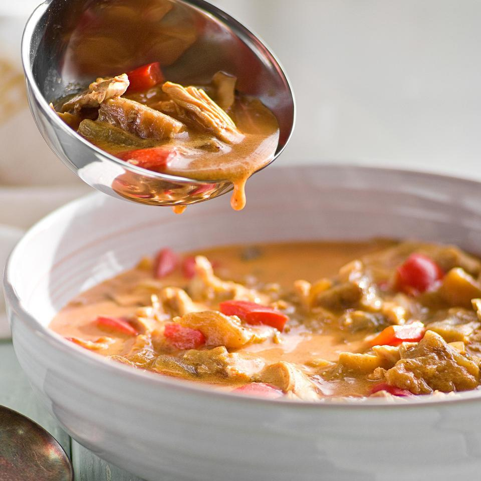 This healthy eggplant and chicken soup recipe, inspired by traditional Serbian cuisine, is seasoned with lemon, herbs, turmeric and two types of paprika. It's packed with vegetables, so the only side you'll need is crusty bread to sop up the delicious broth. Source: EatingWell Magazine, January/February 2015