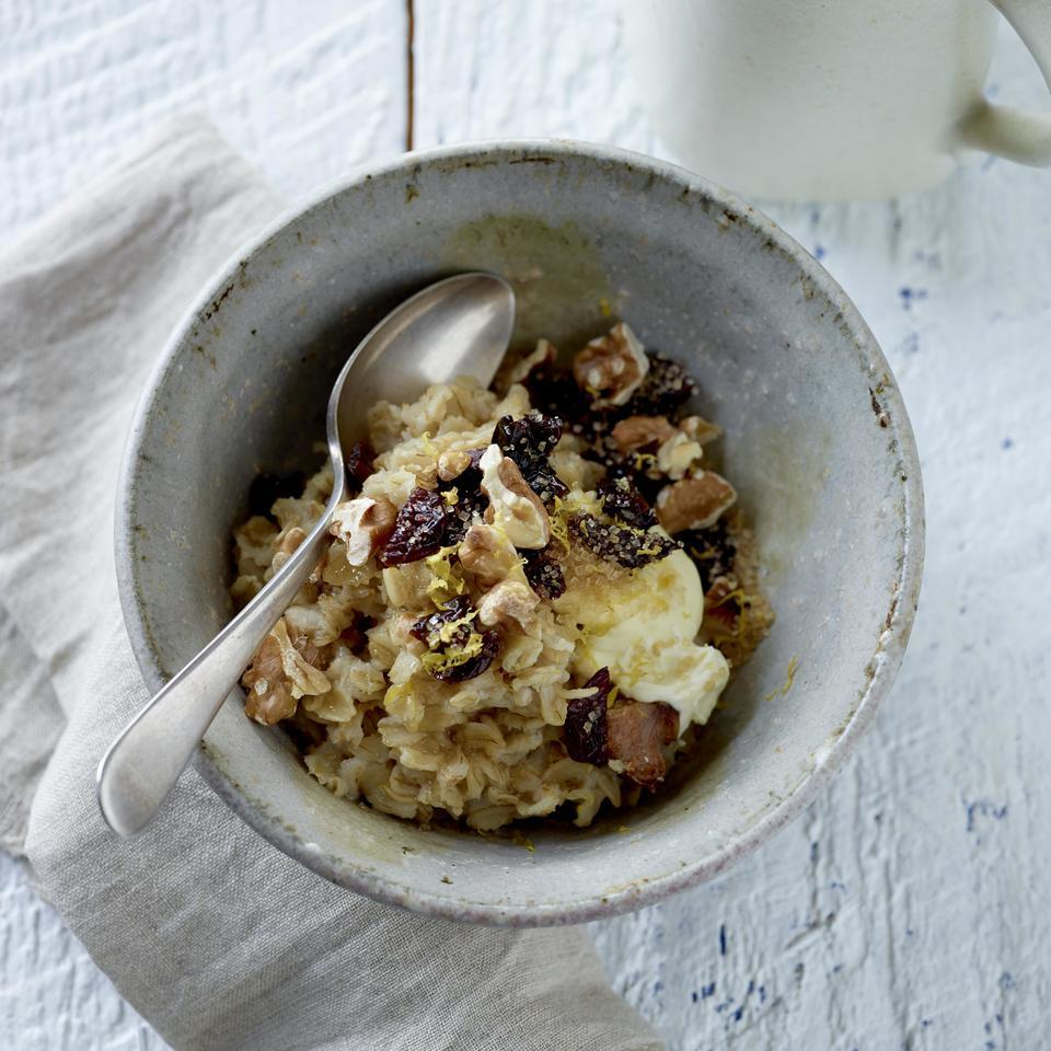 Cream cheese, dried cherries and lemon zest give this healthy oatmeal recipe cheesecake-like flavor. Short on time in the morning? Try our overnight oatmeal variation.