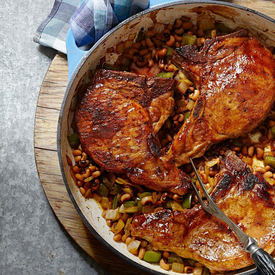Bourbon-Glazed Pork Chops with Hoppin' John EatingWell Test Kitchen