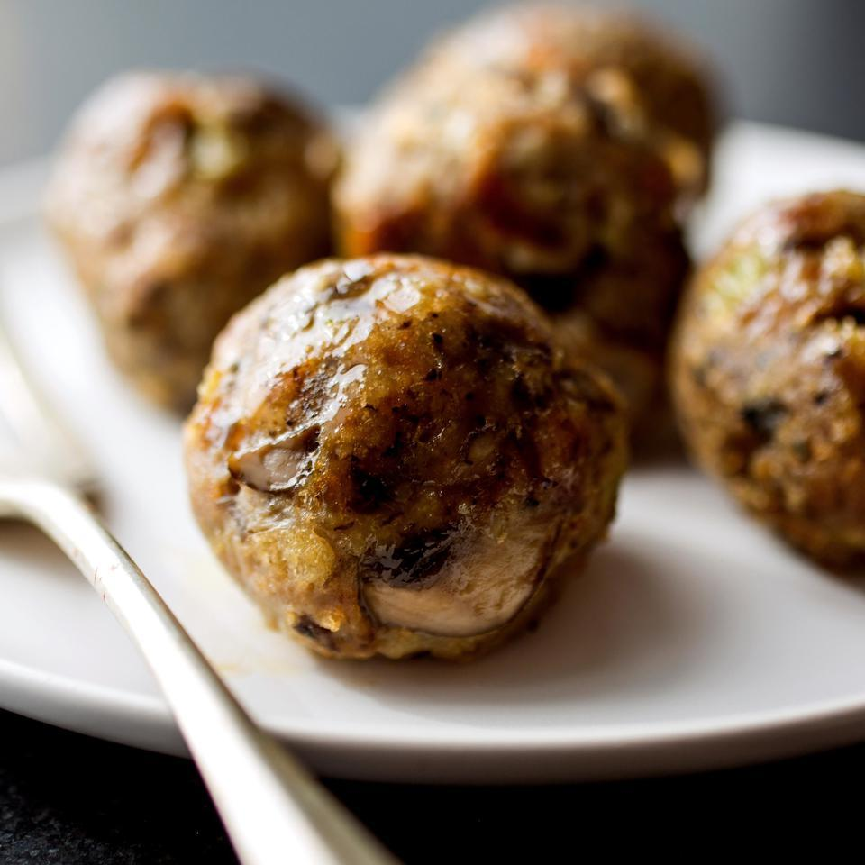 In this healthy turkey meatball recipe, a base of sautéed mushrooms, celery and garlic adds flavor and helps keep calories in check and portions hearty. Serve these meatballs with marinara as an appetizer, on top of spaghetti or on a roll for a healthy meatball sub.