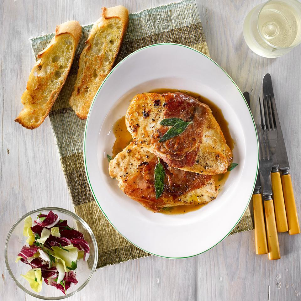 This healthy chicken saltimbocca recipe makes an impressive, yet fast, classy dinner. Serve this Italian-inspired chicken with roasted broccoli rabe and creamy polenta to round out this elegant meal. Source: EatingWell Magazine, March/April 2015