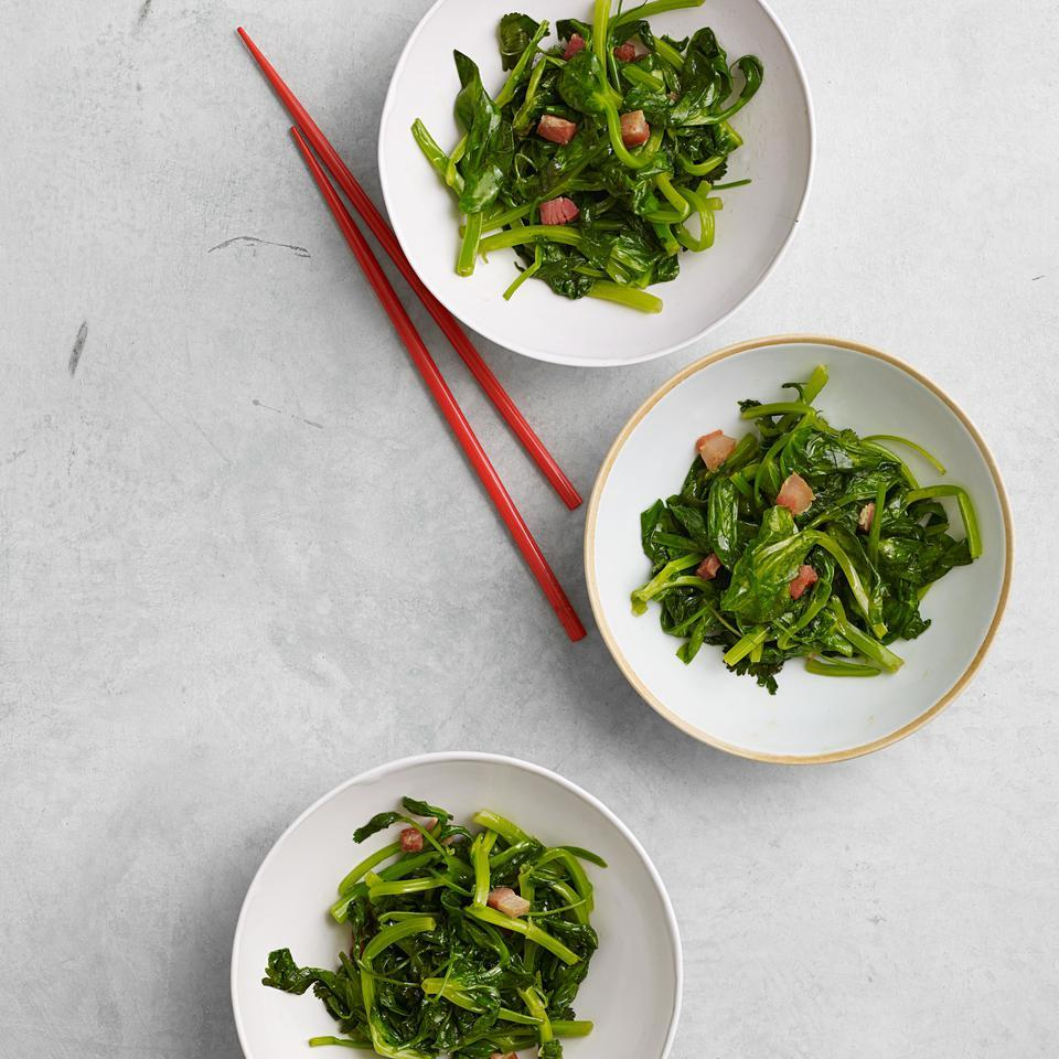 Stir-Fried Snow Pea Shoots with Pancetta Grace Young