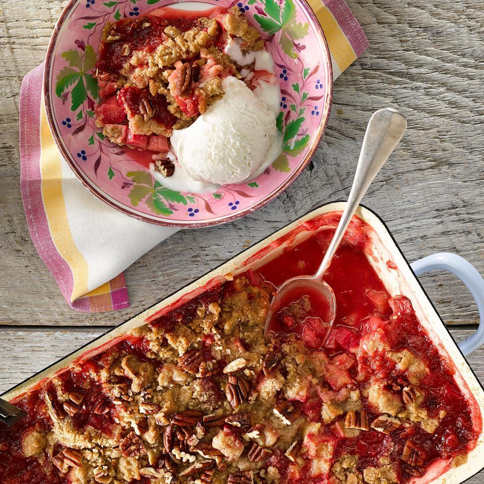 Rhubarb is a tangy counterpart for sweet raspberries in this fruit crumble recipe. For a nutty flavor and a boost of nutrition, this healthy dessert uses whole-grain rye flour and toasted pecans. Serve the crumble with your favorite vanilla frozen yogurt or a dollop of whipped cream. Source: EatingWell Magazine, March/April 2015