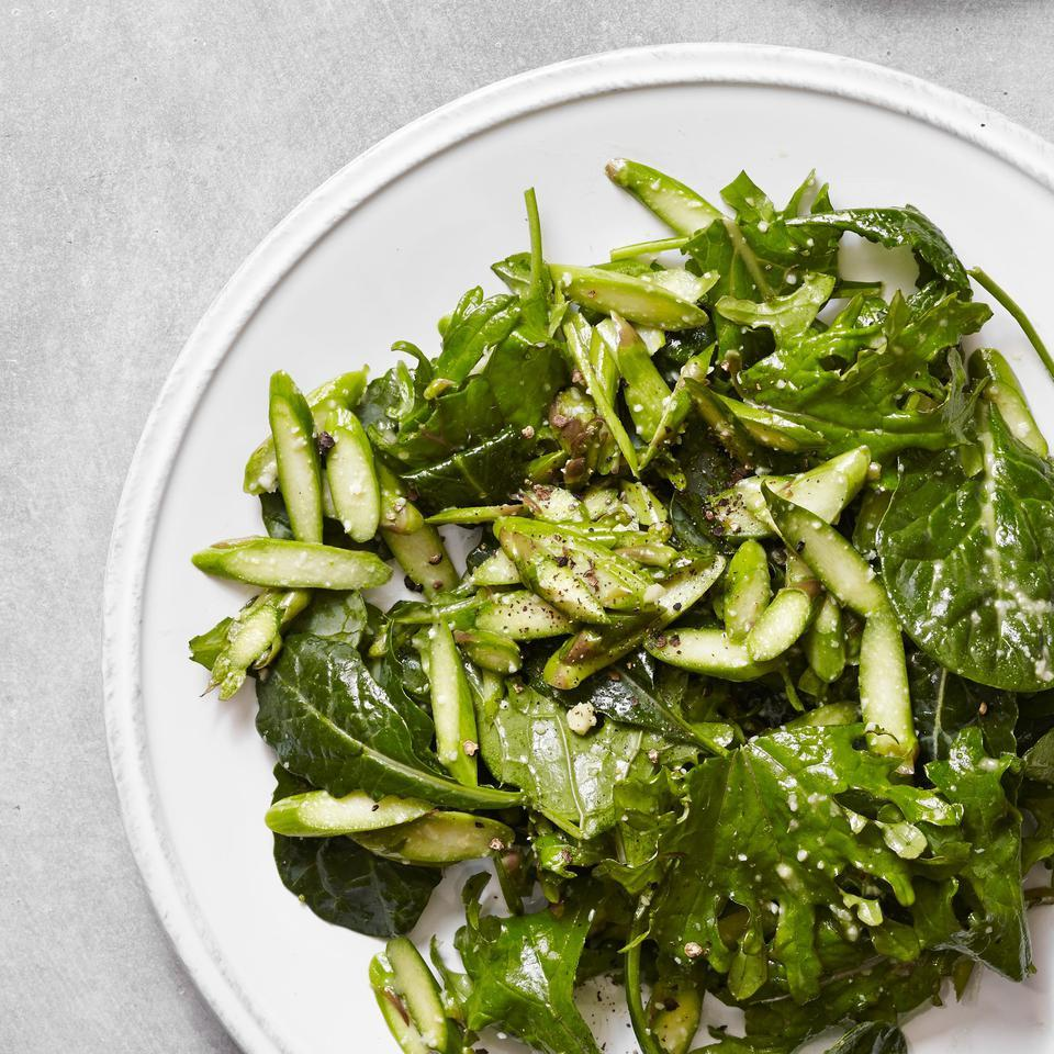 Asparagus & Baby Kale Caesar Salad EatingWell Test Kitchen