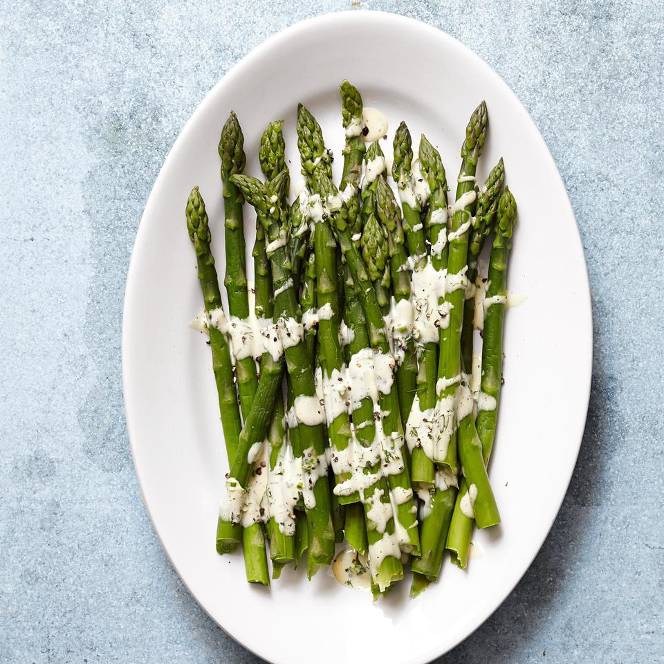 Asparagus with Easy Hollandaise Sauce EatingWell Test Kitchen