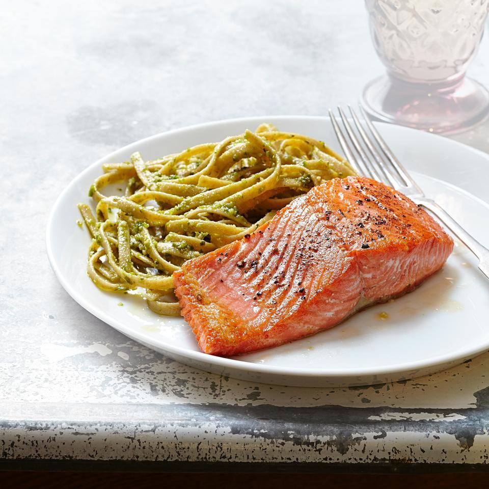 The brightness of basil pesto is a nice match for the buttery flavor of salmon in this quick and healthy dinner recipe. Refrigerated pesto, found near fresh sauces and salsas at most stores, is prettier and has a better taste than jarred. Source: EatingWell Magazine, March/April 2015