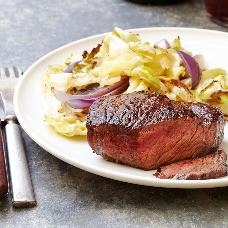 Steak with Cheddar Roasted Cabbage EatingWell Test Kitchen