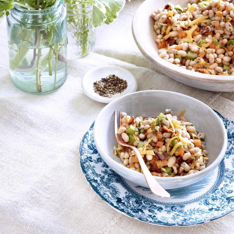 White Bean Salad with Cheddar, Bacon & Walnuts Katie Webster