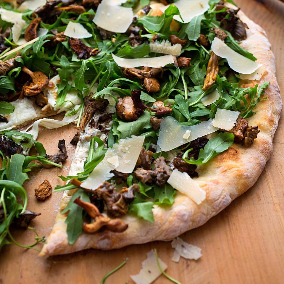 Wild Mushroom Pizza with Arugula & Pecorino Cathy Whims