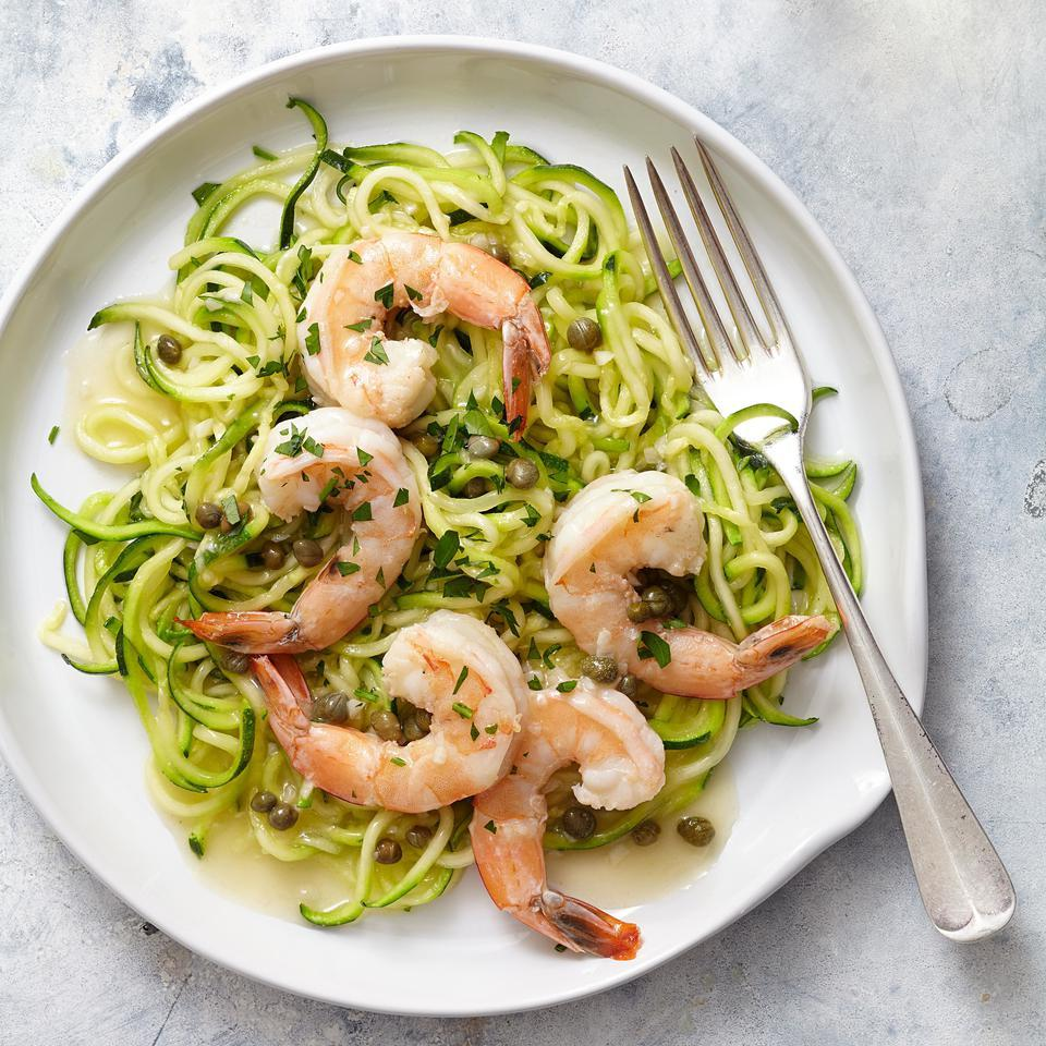 Shrimp Piccata with Zucchini Noodles EatingWell Test Kitchen