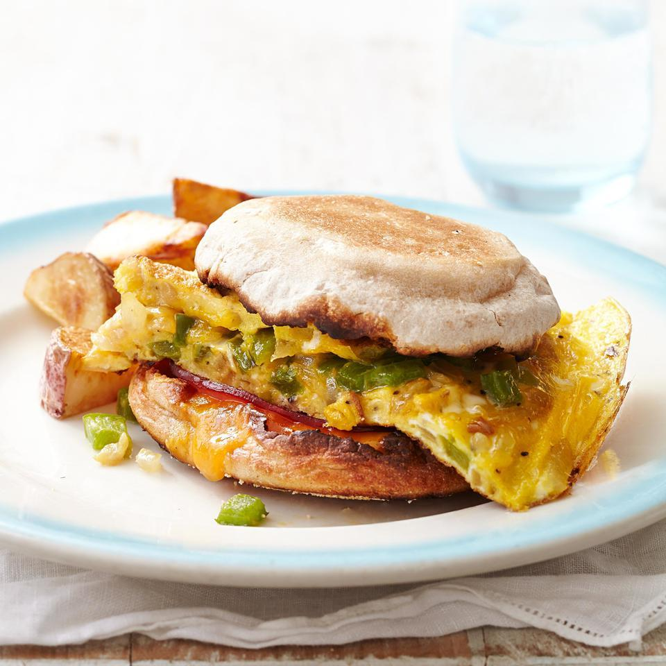 This egg sandwich recipe with flavorful Canadian bacon and crunchy bell pepper is a perfect healthy breakfast-for-dinner candidate. For an evening meal, serve with roasted potatoes and a tomato salad. For breakfast, just add a cup of coffee or tea and you're good to go. Source: EatingWell Magazine, May/June 2015