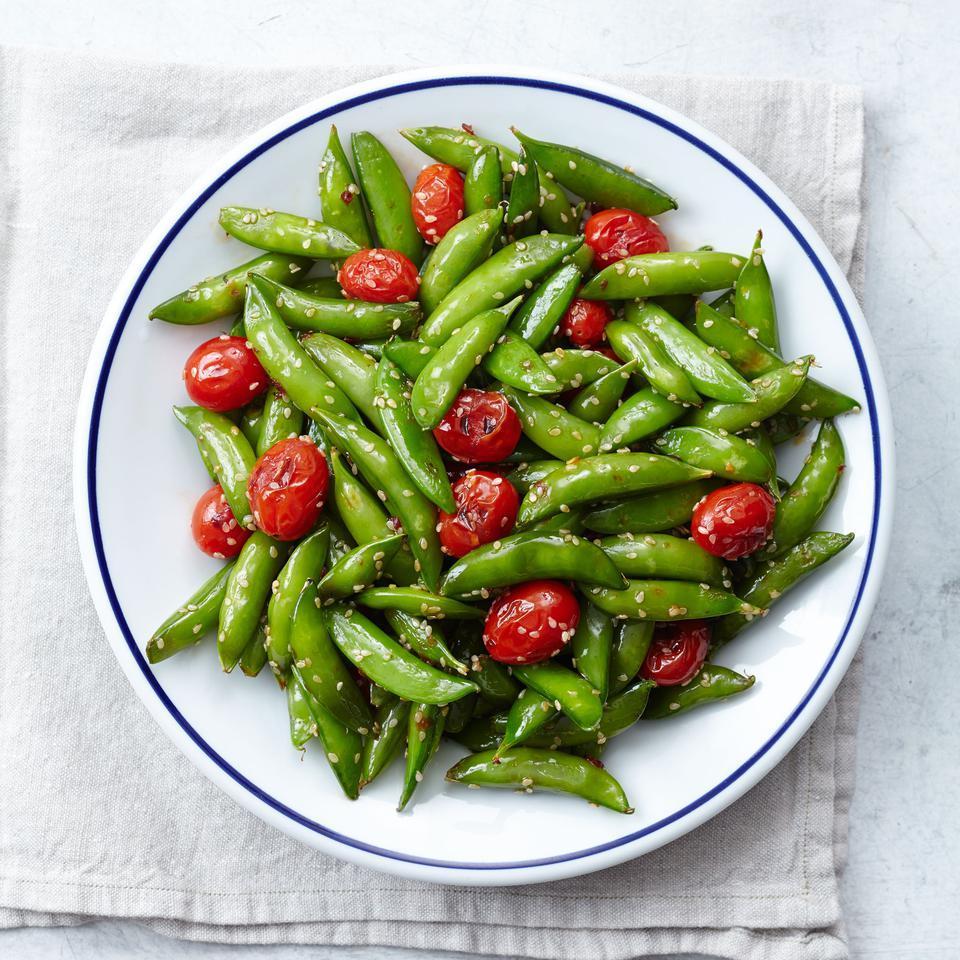 Snap Pea & Cherry Tomato Stir-Fry EatingWell Test Kitchen