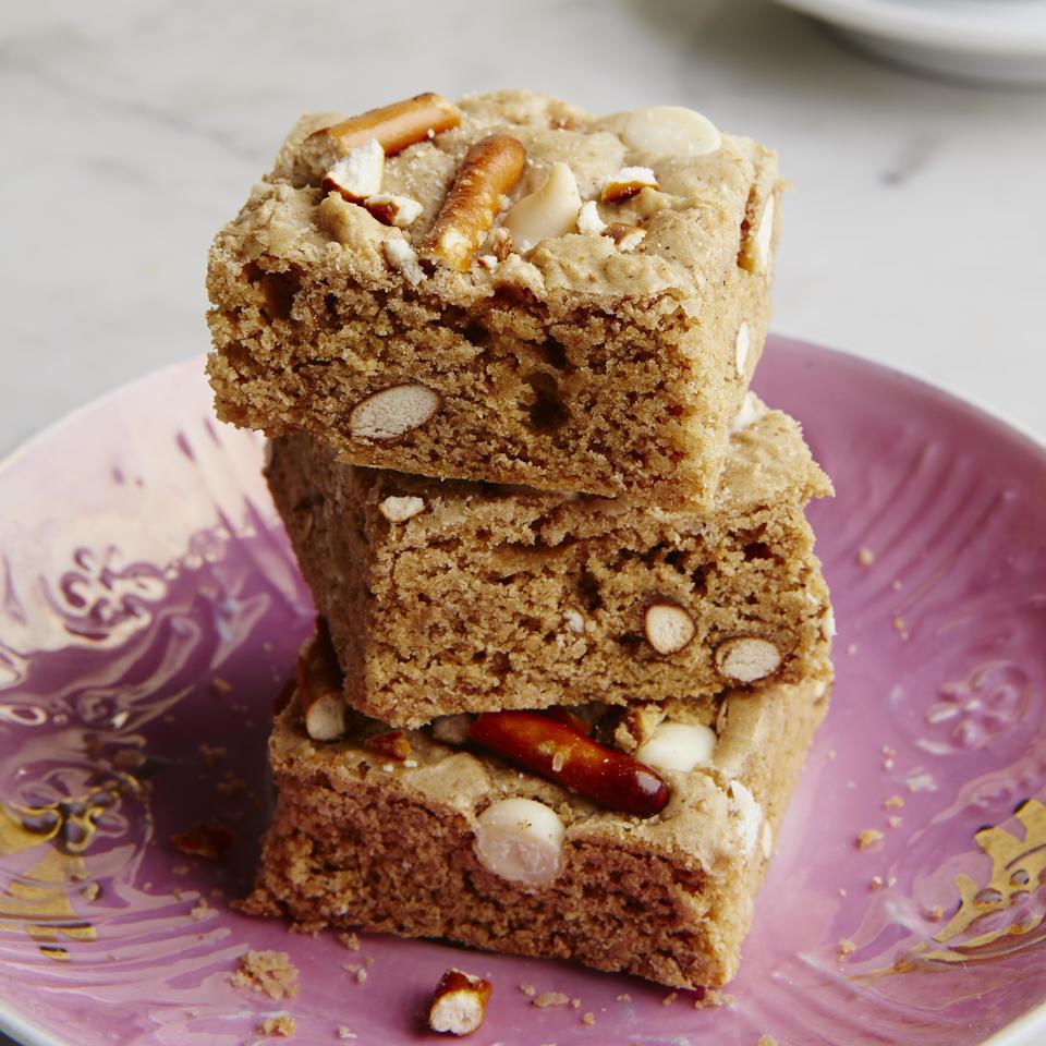 Pretzel & White Chocolate Whole-Grain Blondies EatingWell Test Kitchen