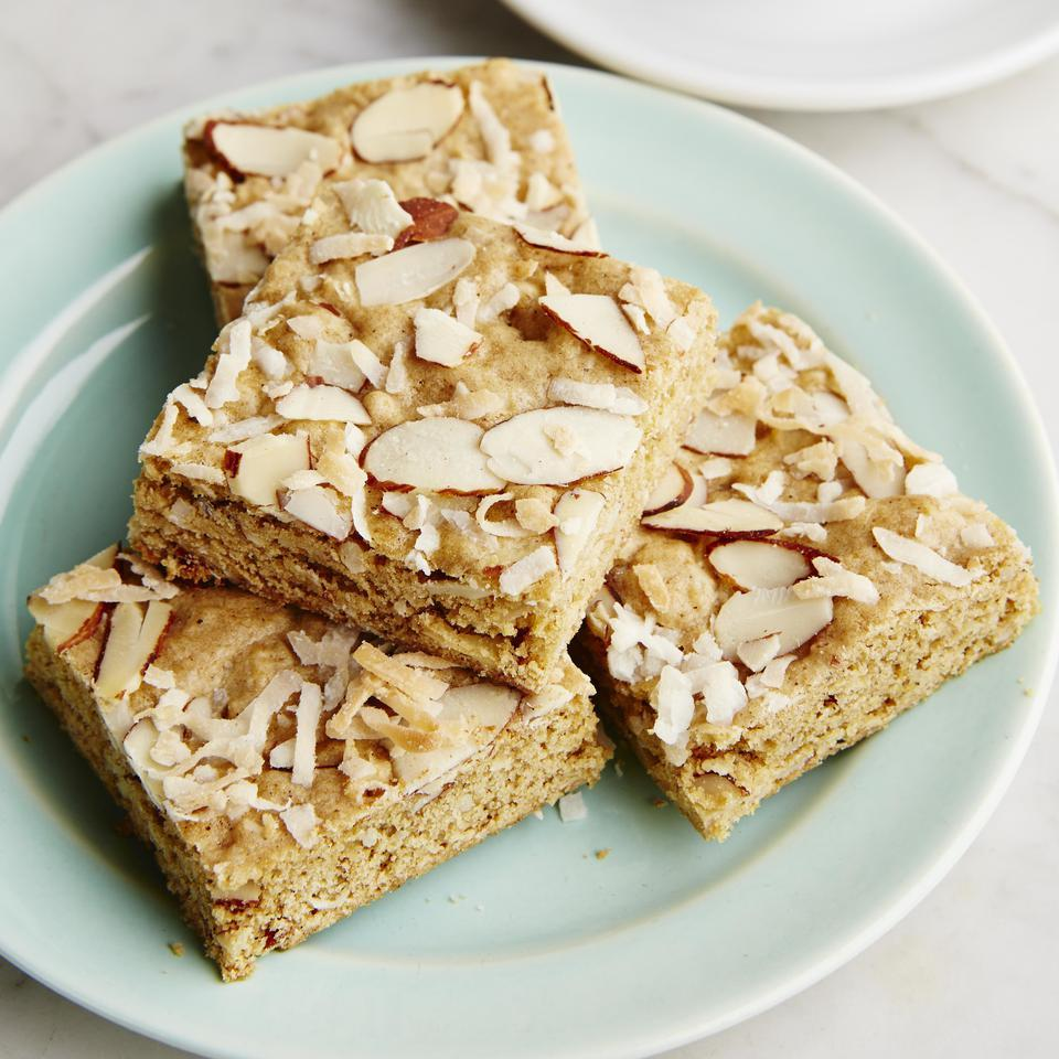 Coconut-Almond Whole-Grain Blondies EatingWell Test Kitchen