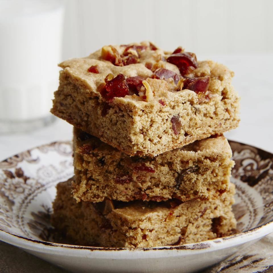 Bacon-Date Whole-Grain Blondies EatingWell Test Kitchen
