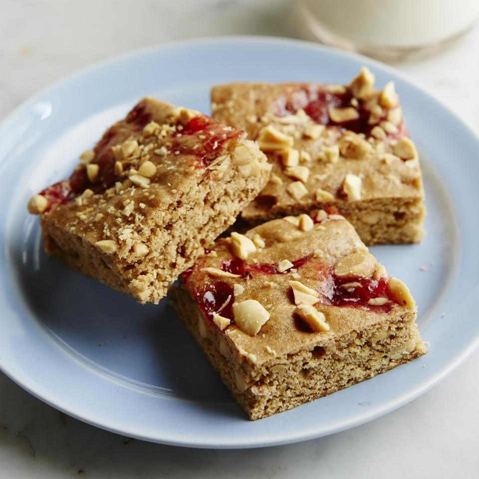 PB & J Whole-Grain Blondies EatingWell Test Kitchen