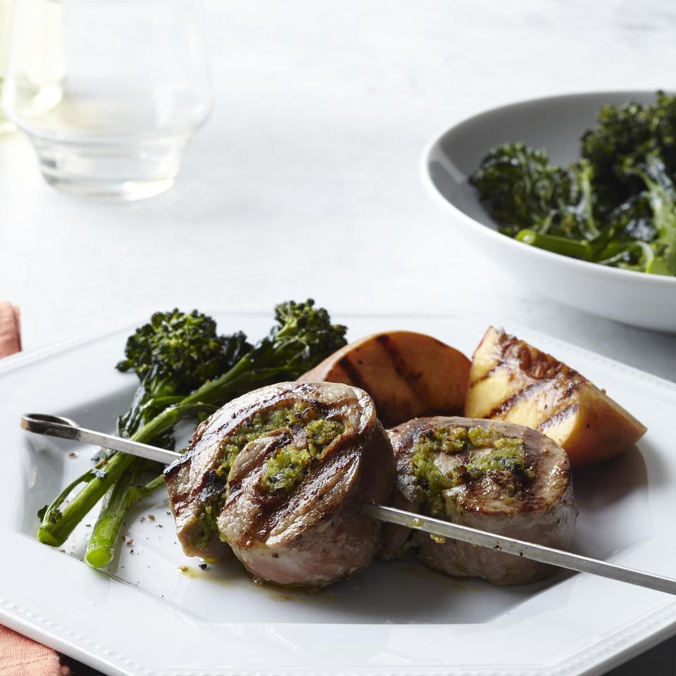 Pesto-Pork Pinwheels with Grilled Peaches EatingWell Test Kitchen