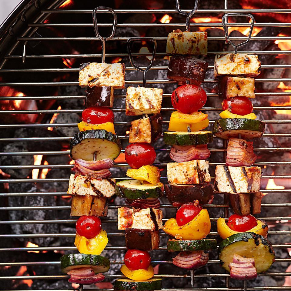 Lemon-oregano marinade amps up tofu in this ratatouille-inspired vegetarian kebab recipe. Serve with whole-wheat orzo tossed with olive oil and herbs, or in a wrap with yogurt sauce. Source: EatingWell Magazine, July/August 2015