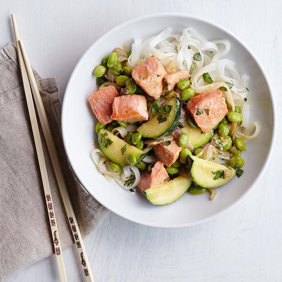 Edamame & Salmon Stir-Fry with Miso Butter EatingWell Test Kitchen