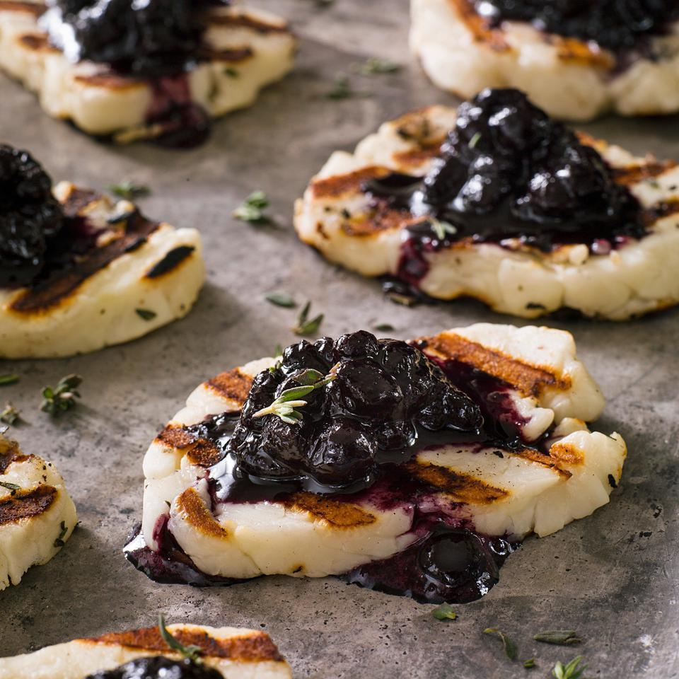 Grilled Halloumi Cheese with Blueberry-Balsamic Jam EatingWell Test Kitchen