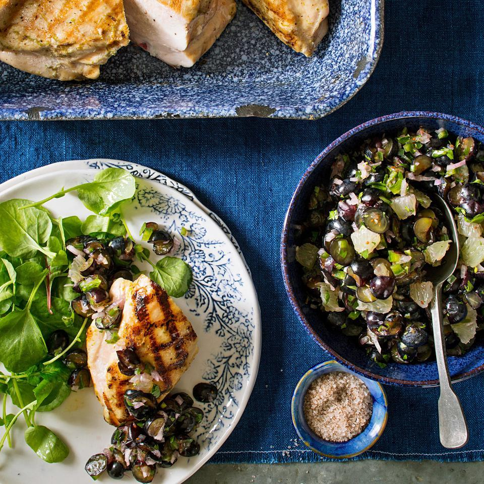 Grilled Chicken with Blueberry-Lime Salsa EatingWell Test Kitchen