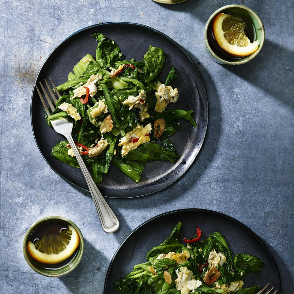 Stir-Fried Mustard Greens with Eggs & Garlic Bjorn Shen