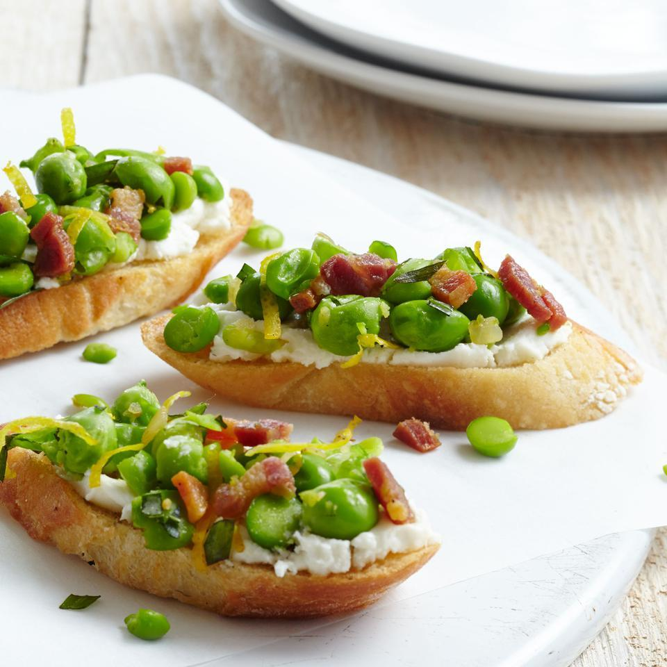 Pea, Pancetta & Tarragon Crostini EatingWell Test Kitchen