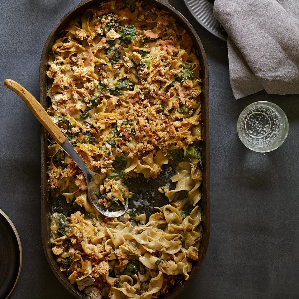 Homemade mushroom sauce kicks the can of soup out of the picture in this veggie-centric, healthy riff on a classic tuna-noodle casserole recipe. Serve with steamed green beans. Source: EatingWell Magazine, September/October 2015