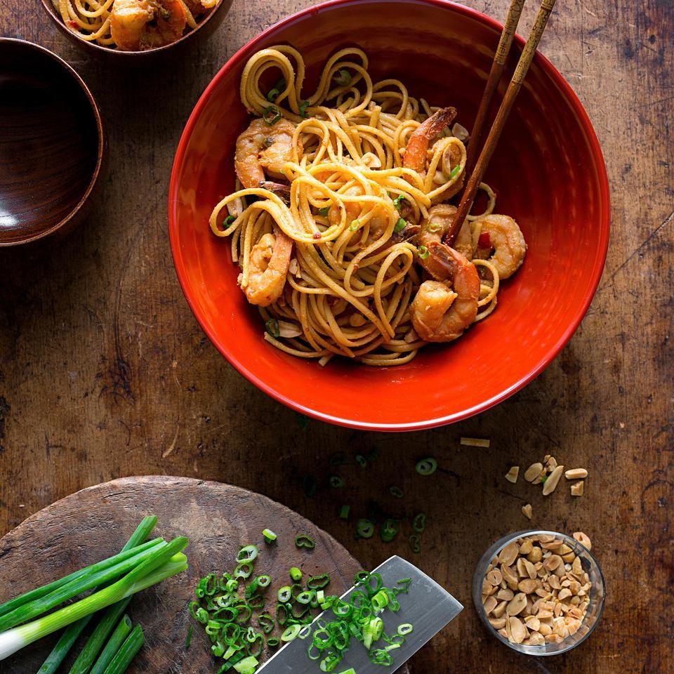 Dan Dan Noodles with Shrimp Dirk Van Susteren