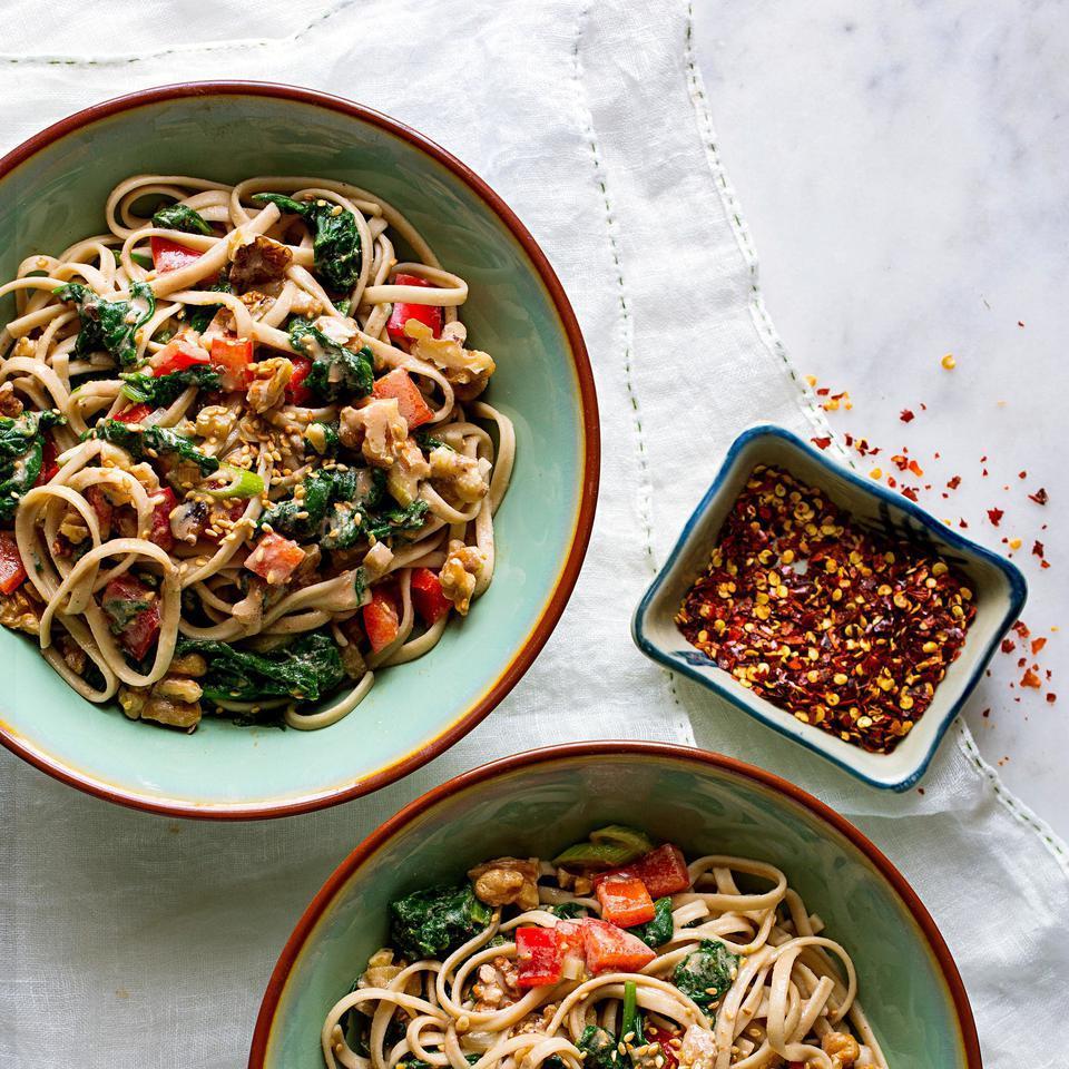 Dan Dan Noodles with Spinach & Walnuts