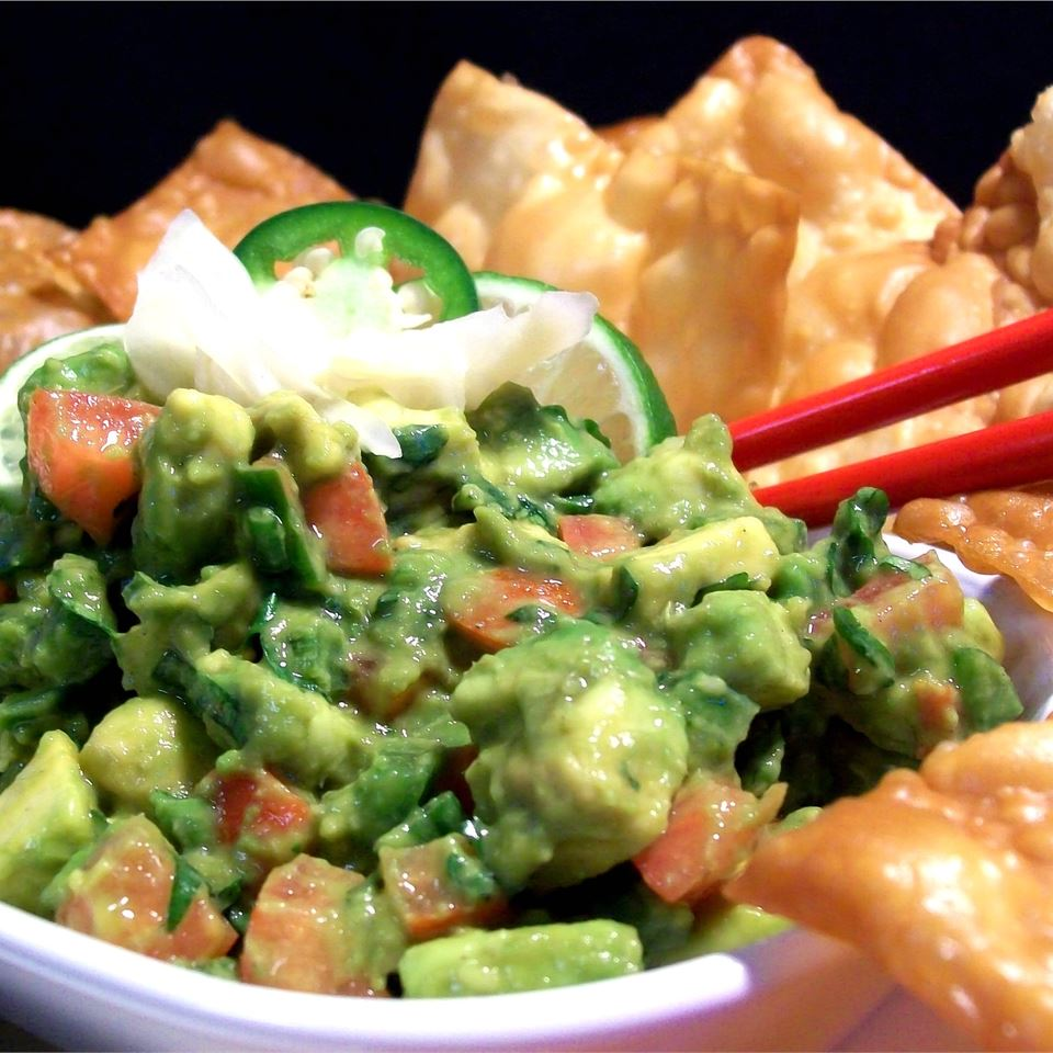 Avocados, lime juice, onions, and jalapeno pepper team up with shiso leaf, ginger, and wasabi paste.