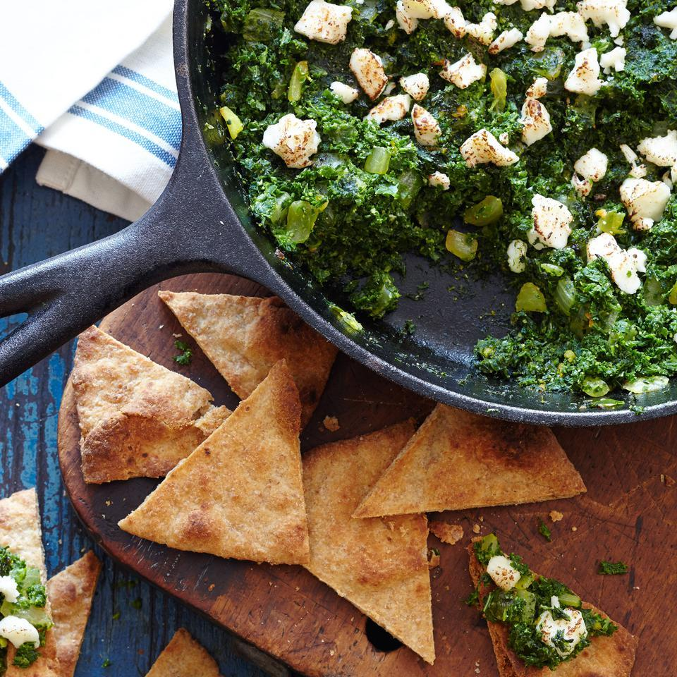 Indian-Style Mustard Greens & Kale with Toasted Naan