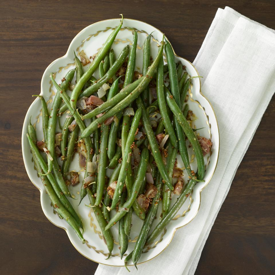 Green Beans & Pancetta with Whole-Grain Mustard Dressing Hilary Meyer