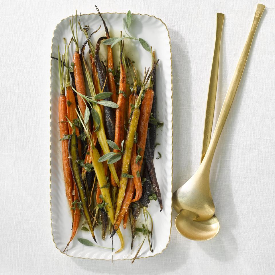 Wow your guests with multicolored carrots dressed in a brown butter and sage sauce. They only take 15 minutes to roast, so pop them in the oven while you carve the turkey and they'll be ready in time to eat.
