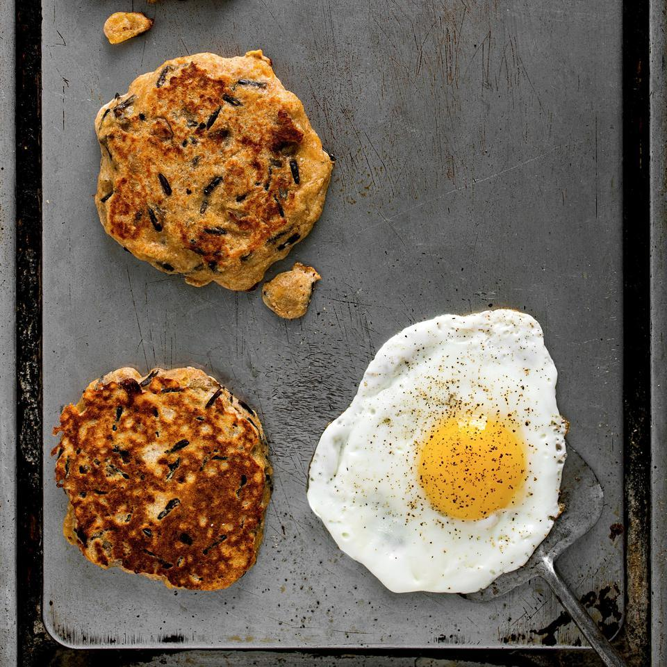Change up your Sunday morning pancake routine with this savory pancake recipe studded with sausage crumbles and shredded sharp Cheddar. Serve these healthy pancakes with fried eggs and slices of fresh tomato. Source: EatingWell Magazine, November/December 2015