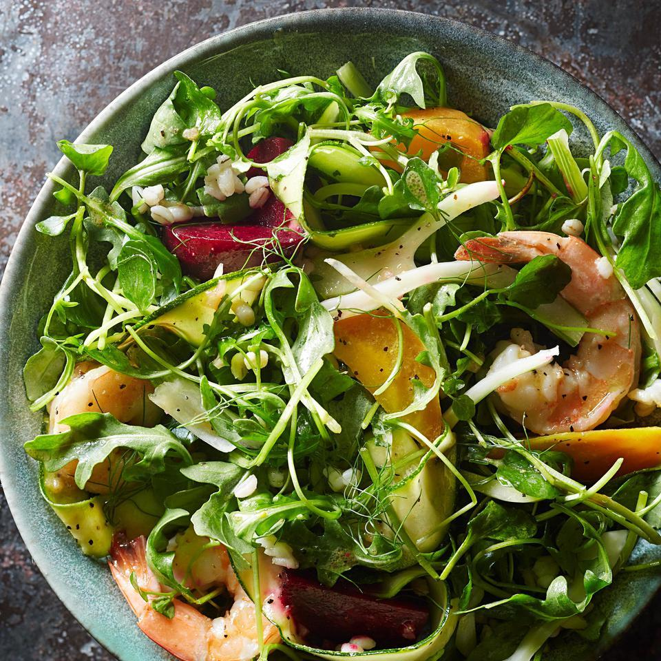 This healthy dinner salad recipe gets its staying power from protein-packed shrimp and fiber-rich barley. With a simple red-wine vinaigrette, this quick salad makes just one serving but is easy to double or triple. Look for precooked beets with other prepared vegetables in the produce department. Source: EatingWell Magazine, January/February 2016