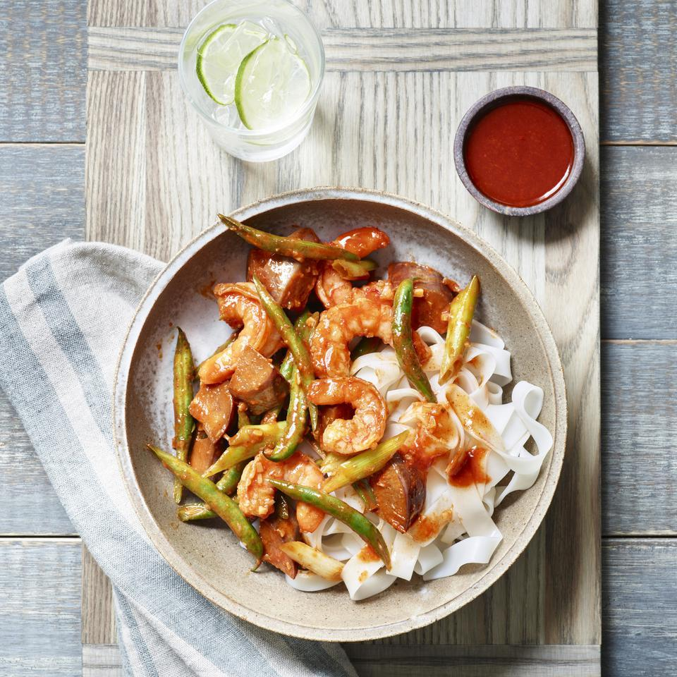 This healthy eggplant and shrimp stir-fry recipe has a Korean-inspired gochujang sauce. Because stir-fries cook up quickly, have all the ingredients prepped and next to the stove before you turn on the heat. Serve over brown rice or rice noodles. Source: EatingWell Magazine, January/February 2016
