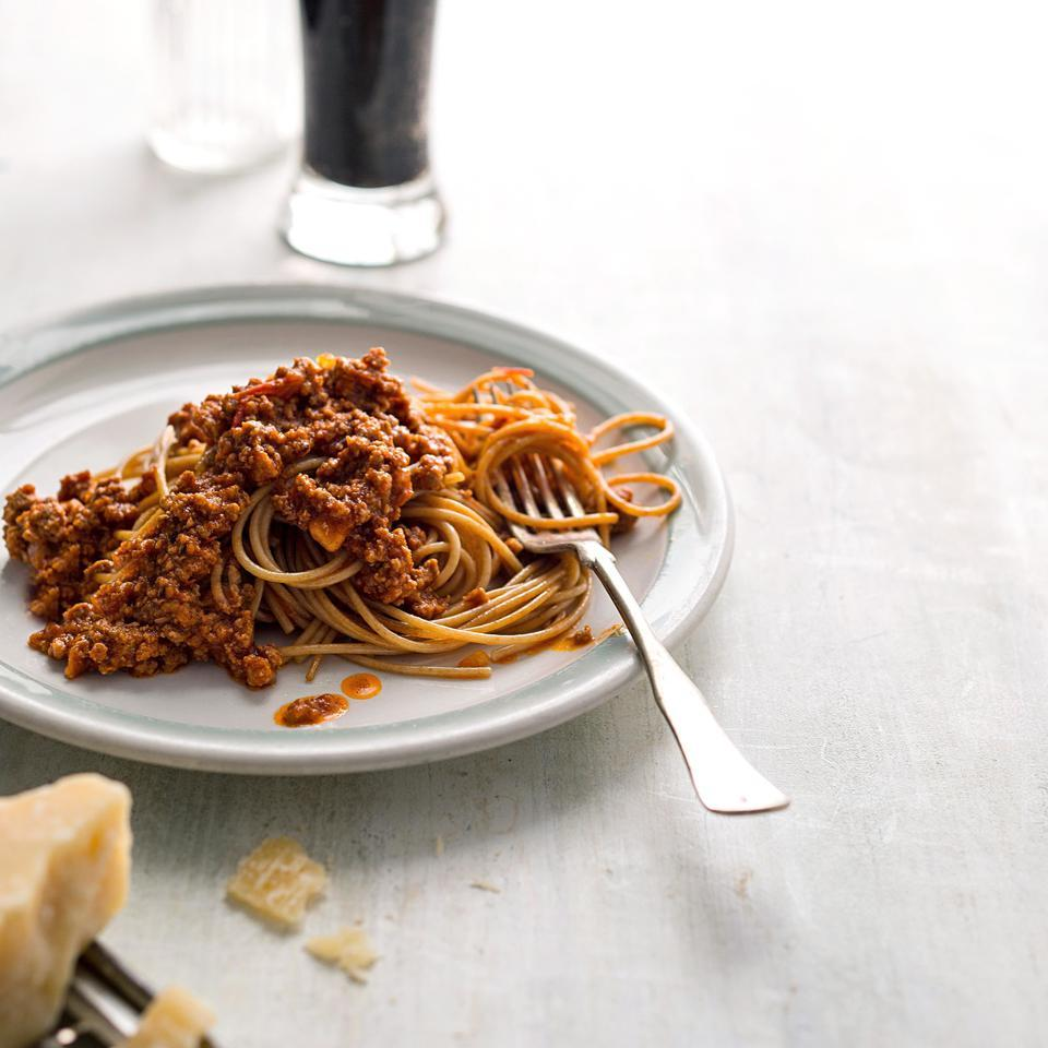 The meat sauce in this healthy pasta recipe is a Greek take on a red chili. This recipe calls for ground lamb but you could easily use ground beef or ground turkey instead. Source: EatingWell Magazine, January/February 2016
