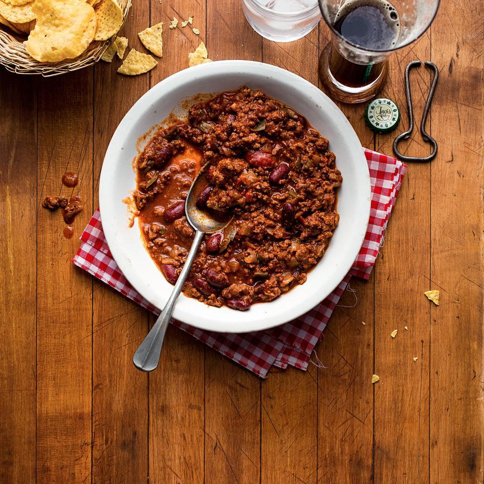 This healthy basic beef chili recipe is well worth doubling so you can throw a batch in the freezer. Serve topped with diced red onion, sliced scallions, shredded cheese and your favorite hot sauce. Source: EatingWell Magazine, January/February 2016
