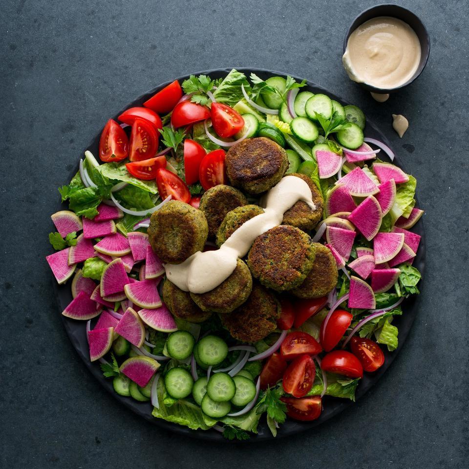 Falafel Salad with Lemon-Tahini Dressing EatingWell Test Kitchen