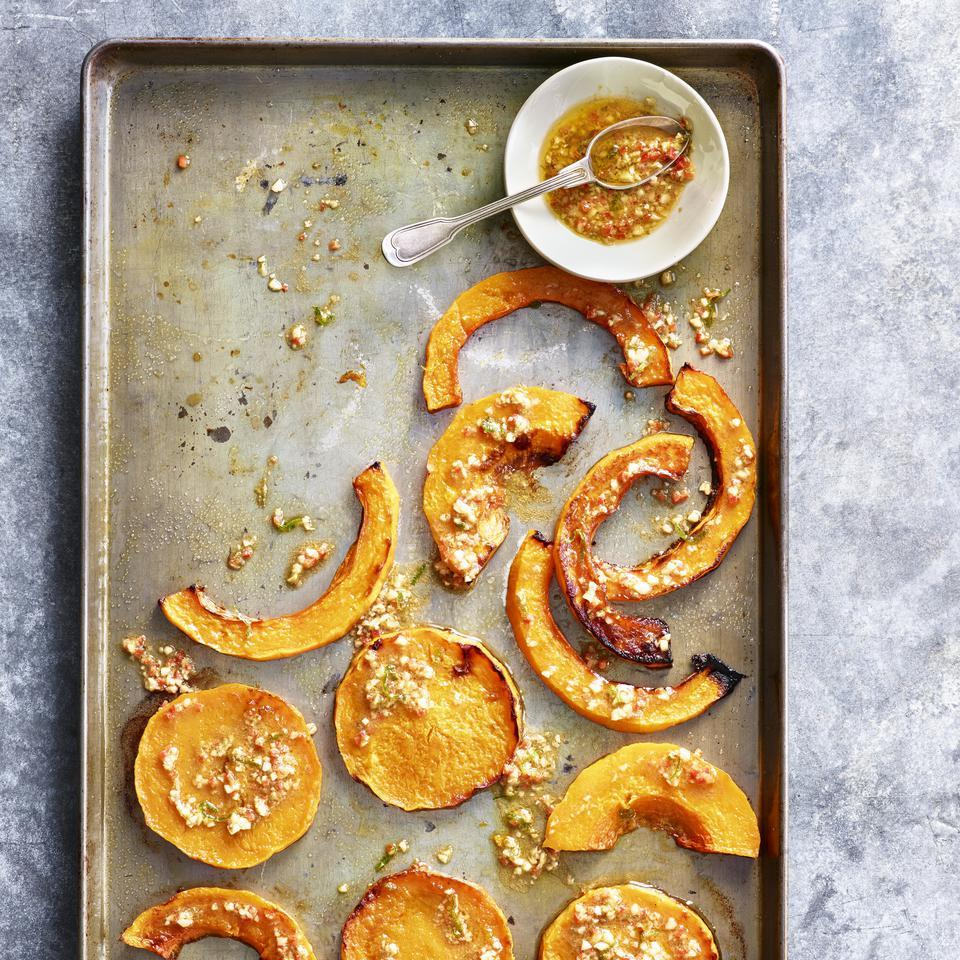 Cumin, garlic, lime and a jalapeño pepper spice up this roasted butternut squash recipe. If you like the consistent look of squash rounds, look for a long-necked butternut or use just the necks from a couple, reserving the bulbous bottoms for another use, such as for healthy muffins or soup.