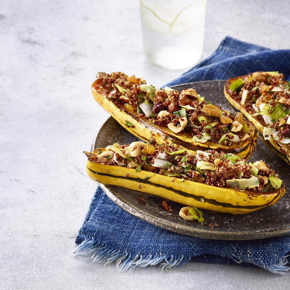 With its pretty striped skin and uniform shape, delicata squash is a beautiful vessel for serving up this healthy quinoa stuffing. Serve this recipe as a stunning side dish or a vegetarian main with a big leafy green salad alongside.
