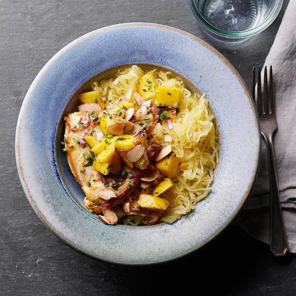 Seared Chicken with Mango Salsa & Spaghetti Squash Katie Webster