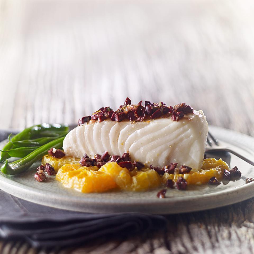 Roasted Halibut with Tangerine & Olive Tapenade Laraine Perri
