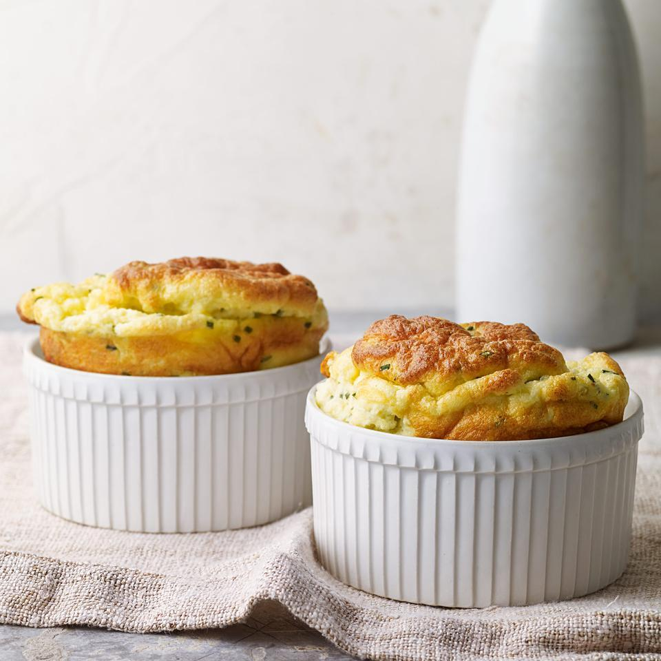 Chive & Goat Cheese Souffles Kathy Gunst