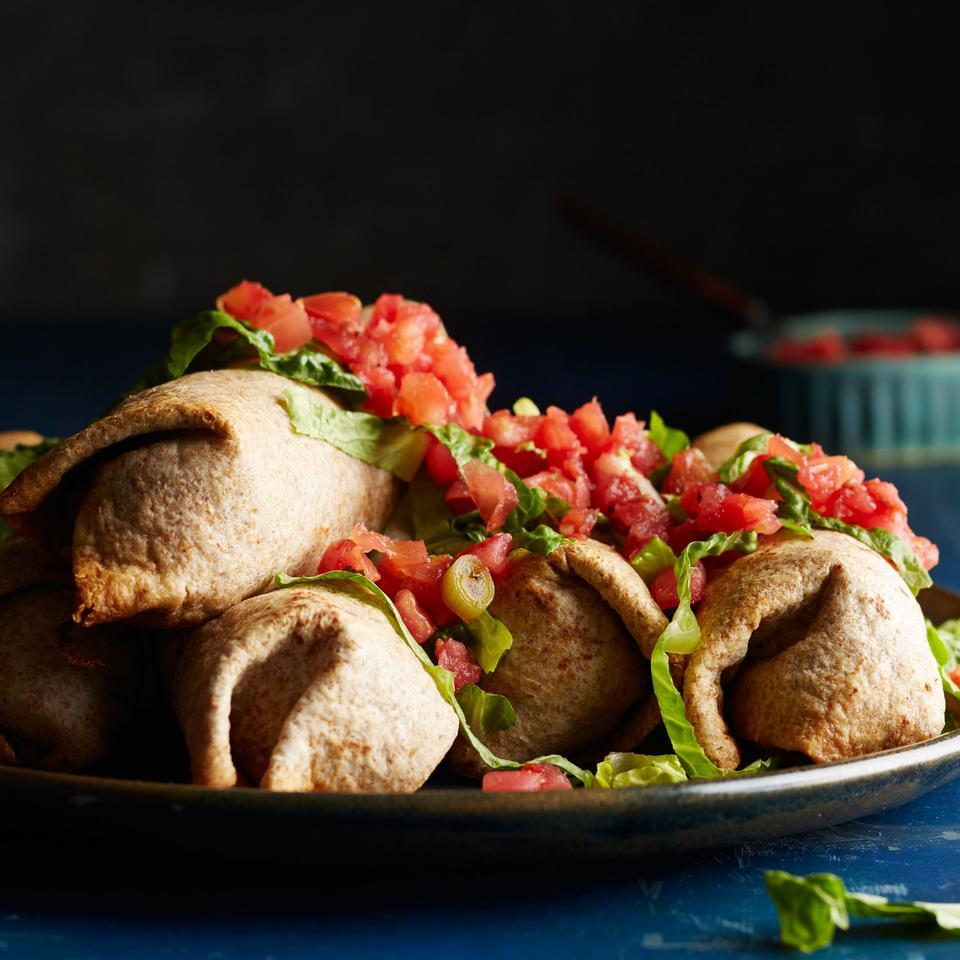 To slash 150 calories in this healthy chimichanga recipe, we bake rather than fry and use less beef by stretching the filling with mushrooms and beans. Top the baked chimichangas with fresh salsa (found near other refrigerated dips and sauces) instead of jarred salsa to save on sodium. Source: EatingWell Magazine, May/June 2016