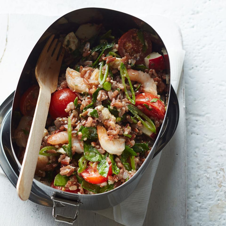 Shrimp & Vegetable Red Rice Salad Katie Workman